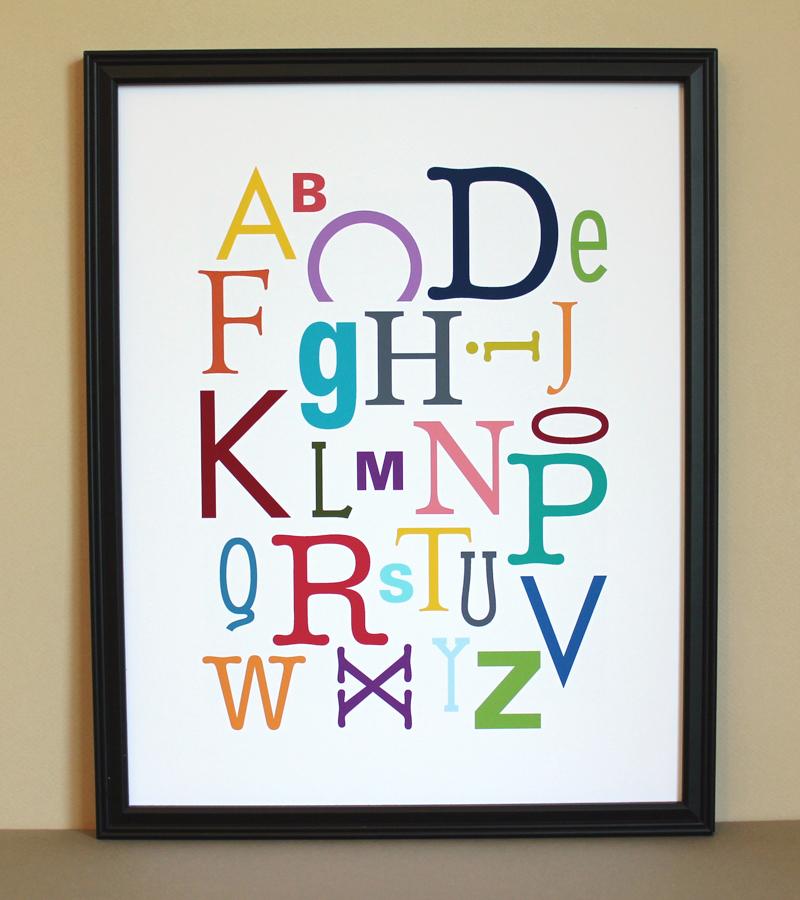 Multi-Color Alphabet Art Print, 11x14, Unframed