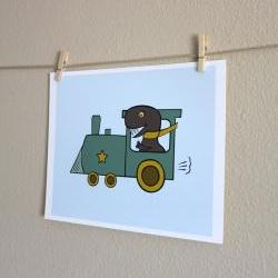 Dinosaur Driving Train, 8x10