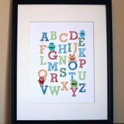 Monster Alphabet, 8x10 - BOY