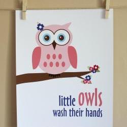 Little Owls Wash Their Hands art print, 8x10, GIRL