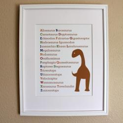 Dinosaur ABC Nursery Art Print, 8x10