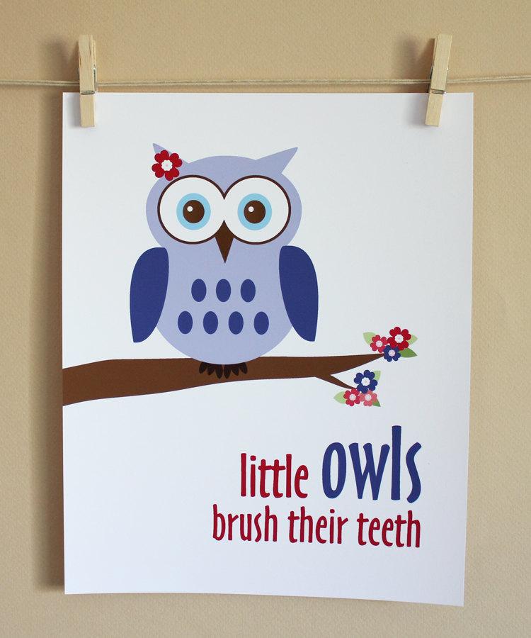 Little Owls Brush Their Teeth 8x10 Girl On Luulla